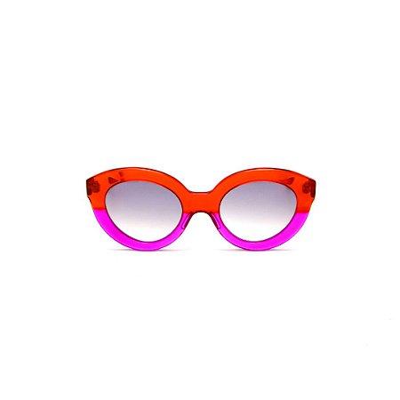 Óculos de sol Gustavo Eyewear G25 11. Cor: Vermelho e violeta translúcido. Haste vermelha. Lentes cinza.