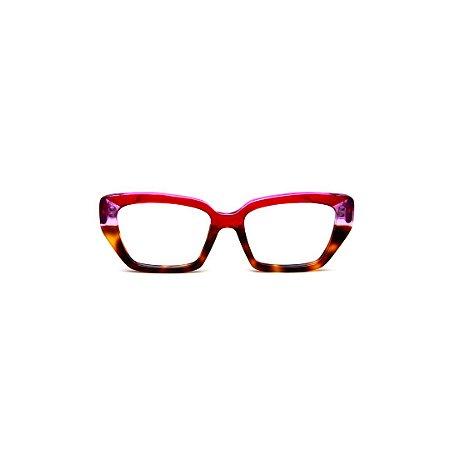 Armação para óculos de Grau Gustavo Eyewear G51 3. Cor: Vermelho translúcido, cristal e animal print. Haste vermelha.