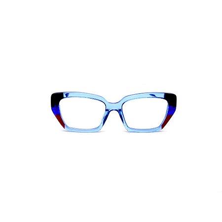 Armação para óculos de Grau Gustavo Eyewear G51 8. Cor: Azul, preto, vermelho translúcido. Haste azul.