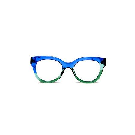 Armação para óculos de Grau Gustavo Eyewear G56 1. Cor: Azul, acqua e verde translúcido. Haste azul.