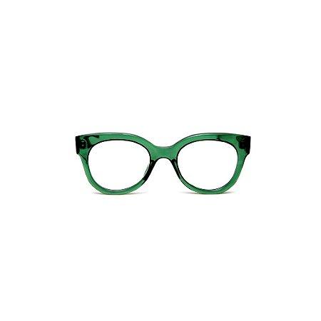 Armação para óculos de Grau Gustavo Eyewear G56 4. Cor: Verde translúcido. Haste animal print.