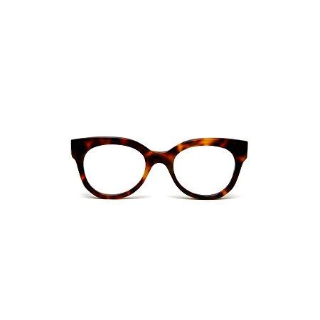 Armação para óculos de Grau Gustavo Eyewear G56 5. Cor: Animal print. Haste animal print.