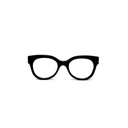 Armação para óculos de Grau Gustavo Eyewear G56 7. Cor: Preto. Haste preta.