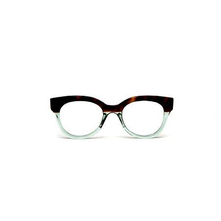 Armação para óculos de Grau Gustavo Eyewear G56 10. Cor: Animal print e acqua. Haste animal print.