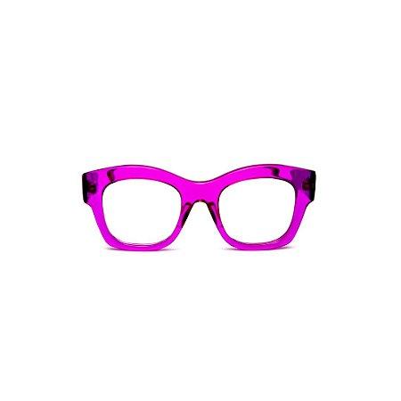 Armação para óculos de Grau Gustavo Eyewear G58 6. Cor: Violeta translúcido. Haste animal print.