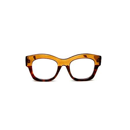 Armação para óculos de Grau Gustavo Eyewear G58 8. Cor: Caramelo e animal print. Haste caramelo.