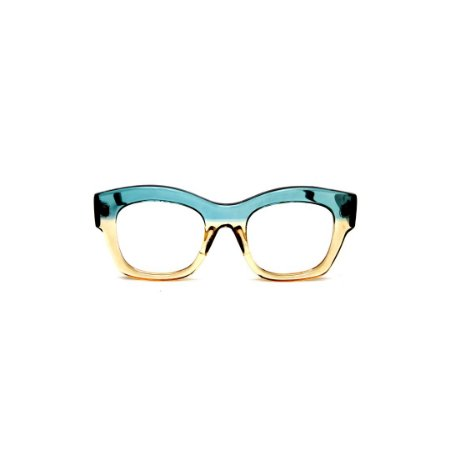 Armação para óculos de Grau Gustavo Eyewear G58 9. Cor: Acqua e âmbar translúcido. Haste animal print.