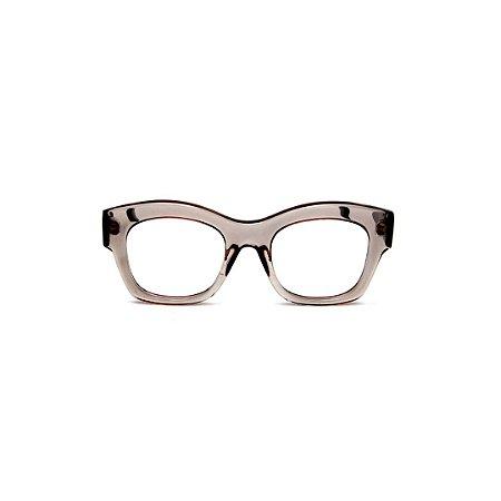 Armação para óculos de Grau Gustavo Eyewear G58 13. Cor: Fumê translúcido. Haste preta.