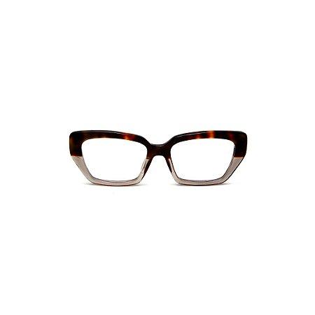 Armação para óculos de Grau Gustavo Eyewear G51 10. Cor: Animal print e fumê translúcido. Haste animal print.