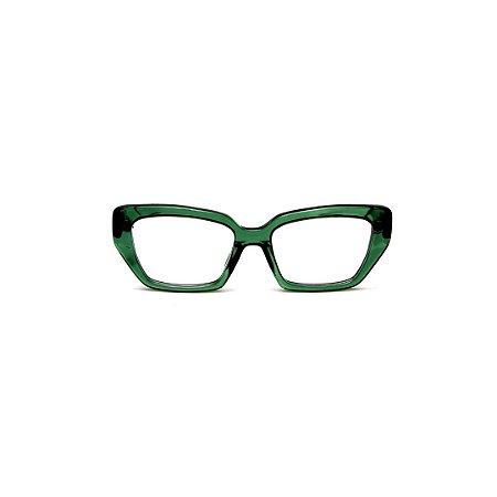 Armação para óculos de Grau Gustavo Eyewear G51 11. Cor: Verde translúcido. Haste animal print.