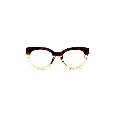 Armação para óculos de Grau Gustavo Eyewear G56 11. Cor: Animal print e âmbar. Haste animal print.