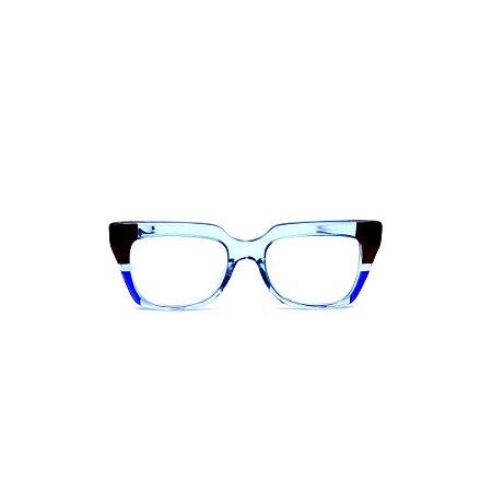 Armação para óculos de Grau Gustavo Eyewear G49 1. Cor: Preto, azul bic e azul claro translúcido. Haste preta.