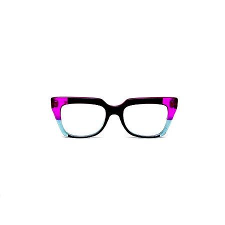 Armação para óculos de Grau Gustavo Eyewear G49 2. Cor: Violeta, preto e azul translúcido. Haste violeta.