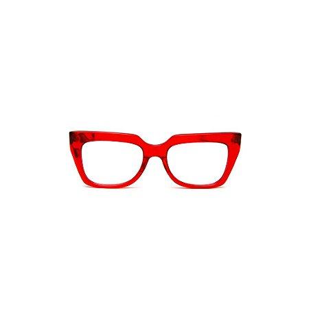Armação para óculos de Grau Gustavo Eyewear G49 5. Cor: Vermelho translúcido. Haste animal print.