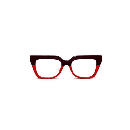 Armação para óculos de Grau Gustavo Eyewear G49 6. Cor: Vermelho e marrom opaco. Haste animal print.