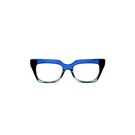 Armação para óculos de Grau Gustavo Eyewear G49 7. Cor: Azul, preto e acqua translúcido. Haste azul.