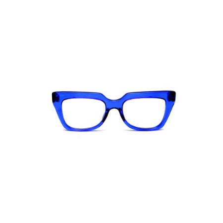 Armação para óculos de Grau Gustavo Eyewear G49 8. Cor: Azul translúcido. Haste preta.
