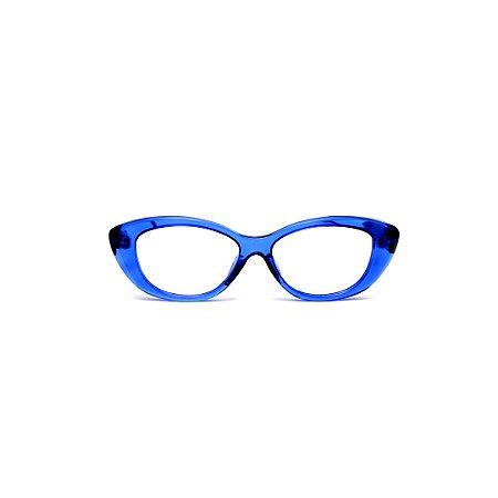 Armação para óculos de Grau Gustavo Eyewear G50 7. Cor: Azul translúcido. Haste preta.