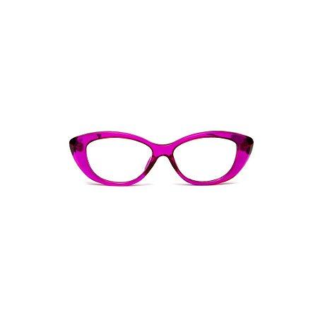 Armação para óculos de Grau Gustavo Eyewear G50 11. Cor: Violeta translúcido. Haste preta.