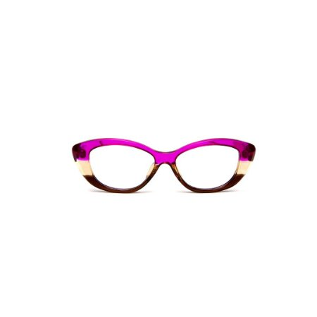 Armação para óculos de Grau Gustavo Eyewear G50 12. Cor: Violeta, âmbar e marrom translúcido. Haste violeta.