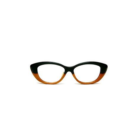 Armação para óculos de Grau Gustavo Eyewear G50 13. Cor: Preto e caramelo. Haste preta.