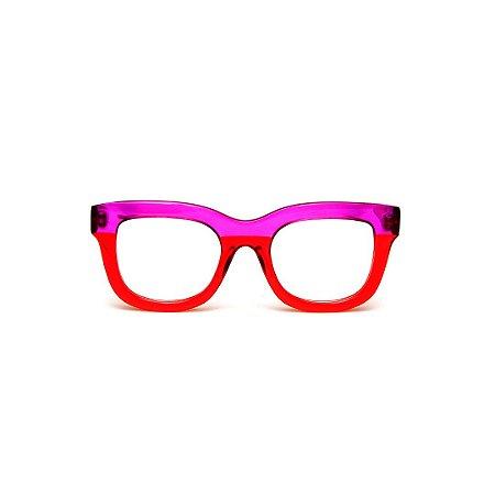 Armação para óculos de Grau Gustavo Eyewear G57 12. Cor: Vermelho e violeta translúcido. Haste violeta.