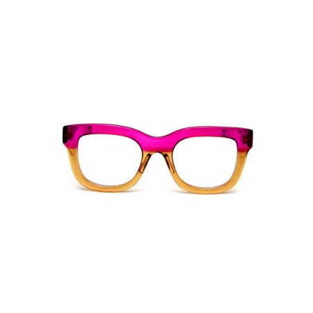 Armação para óculos de Grau Gustavo Eyewear G57 13. Cor: Violeta e âmbar translúcido. Haste animal print.