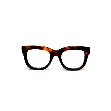 Armação para óculos de Grau Gustavo Eyewear G57 18. Cor: Animal print e preto. Haste animal print.