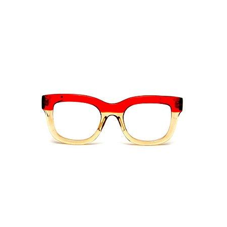 Armação para óculos de Grau Gustavo Eyewear G57 19. Cor: Âmbar e vermelho translúcido. Haste marrom.