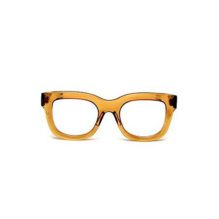 Armação para óculos de Grau Gustavo Eyewear G57 21. Cor: Âmbar translúcido. Haste animal print.