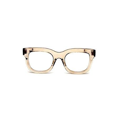 Armação para óculos de Grau Gustavo Eyewear G57 23. Cor: Âmbar translúcido. Haste animal print.