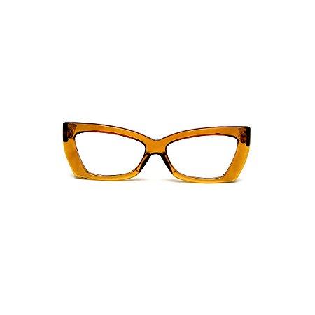 Armação para óculos de Grau Gustavo Eyewear G81 7. Cor: Âmbar. Haste animal print.