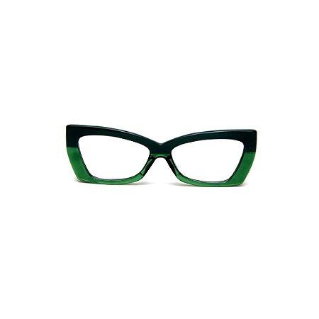 Armação para óculos de Grau Gustavo Eyewear G81 9. Cor: Verde opaco e translúcido. Haste preta.