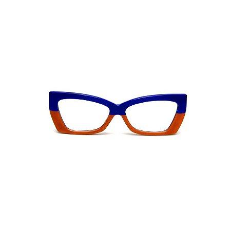 Armação para óculos de Grau Gustavo Eyewear G81 10. Cor: Azul e caramelo opaco.. Haste animal print.