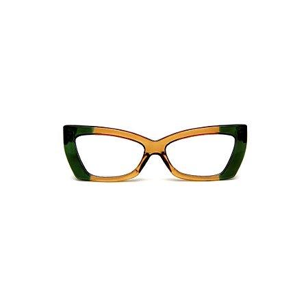 Armação para óculos de Grau Gustavo Eyewear G81 12. Cor: Verde translúcido e âmbar. Haste verde.