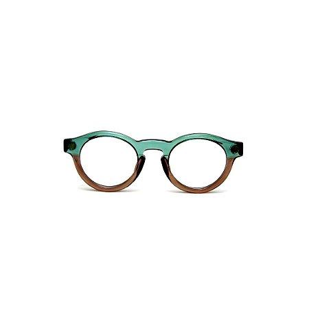 Armação para óculos de Grau Gustavo Eyewear G29 15. Cor: Acqua e fumê translúcido. Haste acqua.