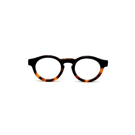 Armação para óculos de Grau Gustavo Eyewear G29 17. Cor: Preto e animal print. Haste animal print.