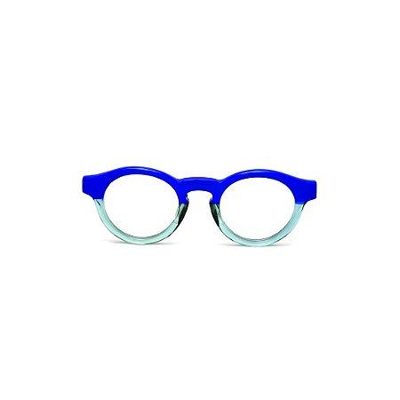 Armação para óculos de Grau Gustavo Eyewear G29 19. Cor: Azul bic e azul claro translúcido. Haste azul.