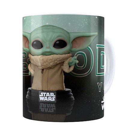 Caneca Baby Yoda 3D Print Star Wars v02 Branca