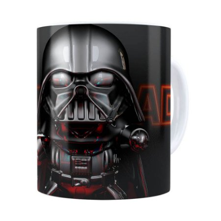 Caneca Darth Vader 3D Print Star Wars Orange Branca