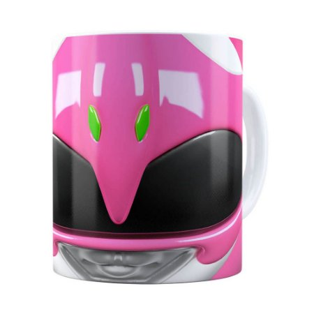 Caneca Ranger Rosa 3D Print Power Rangers Branca