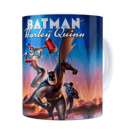 Caneca Batman e Arlequina 3D Print Branca