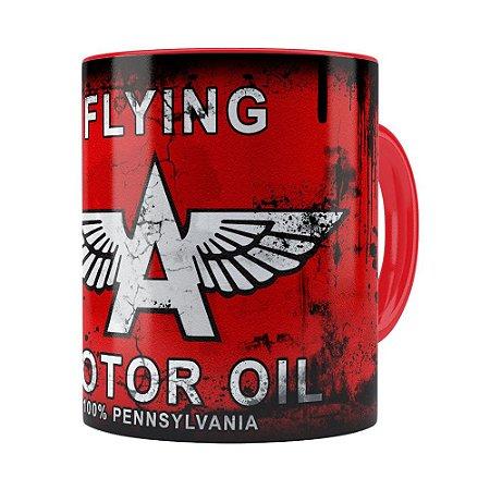 Caneca Lata de Óleo Retrô Oil Flying Vermelha
