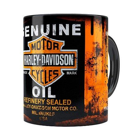 Caneca Lata de Oleo Retrô Oil Harley Davidson Preta