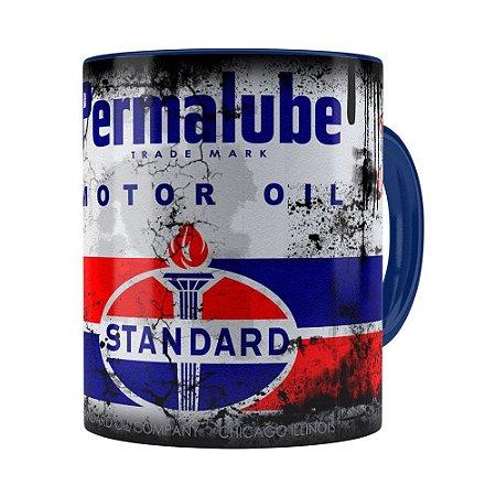 Caneca Lata de Óleo Retrô Oil Standard Azul Escuro