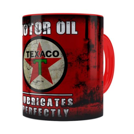 Caneca Lata de Óleo Retrô Oil Texaco Vermelha