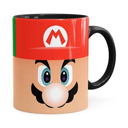 Caneca Mario e Luigi Super Mario Bros Faces Preta