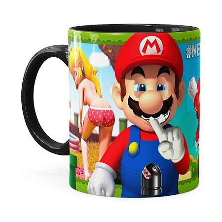 Caneca Super Mario Bros #NeverFriendZone Sexy v02 Preta