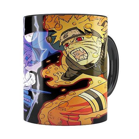 Caneca Naruto Shippuden Naruto e Sasuke v01 Preta