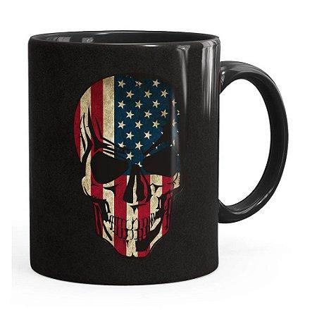 Caneca Caveira Bandeira Americana Preta